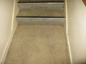 asbestos contained in vinyl floor tiles and stair nosings