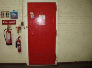 Asbestos fire door
